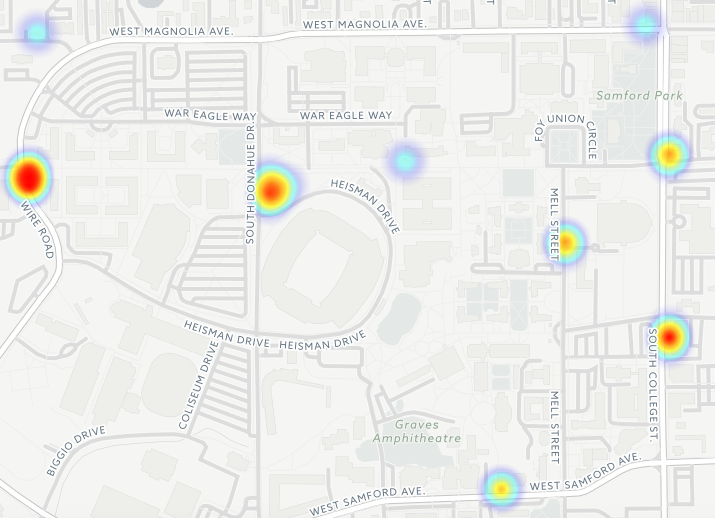 A heat map showing where sexual assaults have been reported at Auburn. Higher concentrations of reports are reflected by darker colors