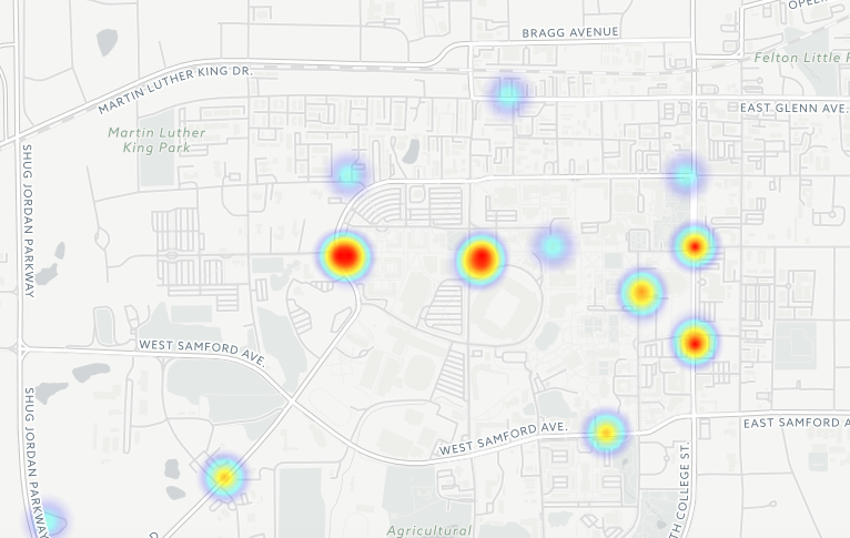 The full heat map of sexual assault reports at Auburn