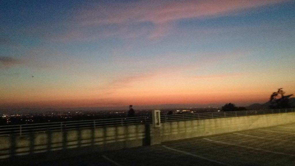 Sunset at Ohlone College Parking Garage