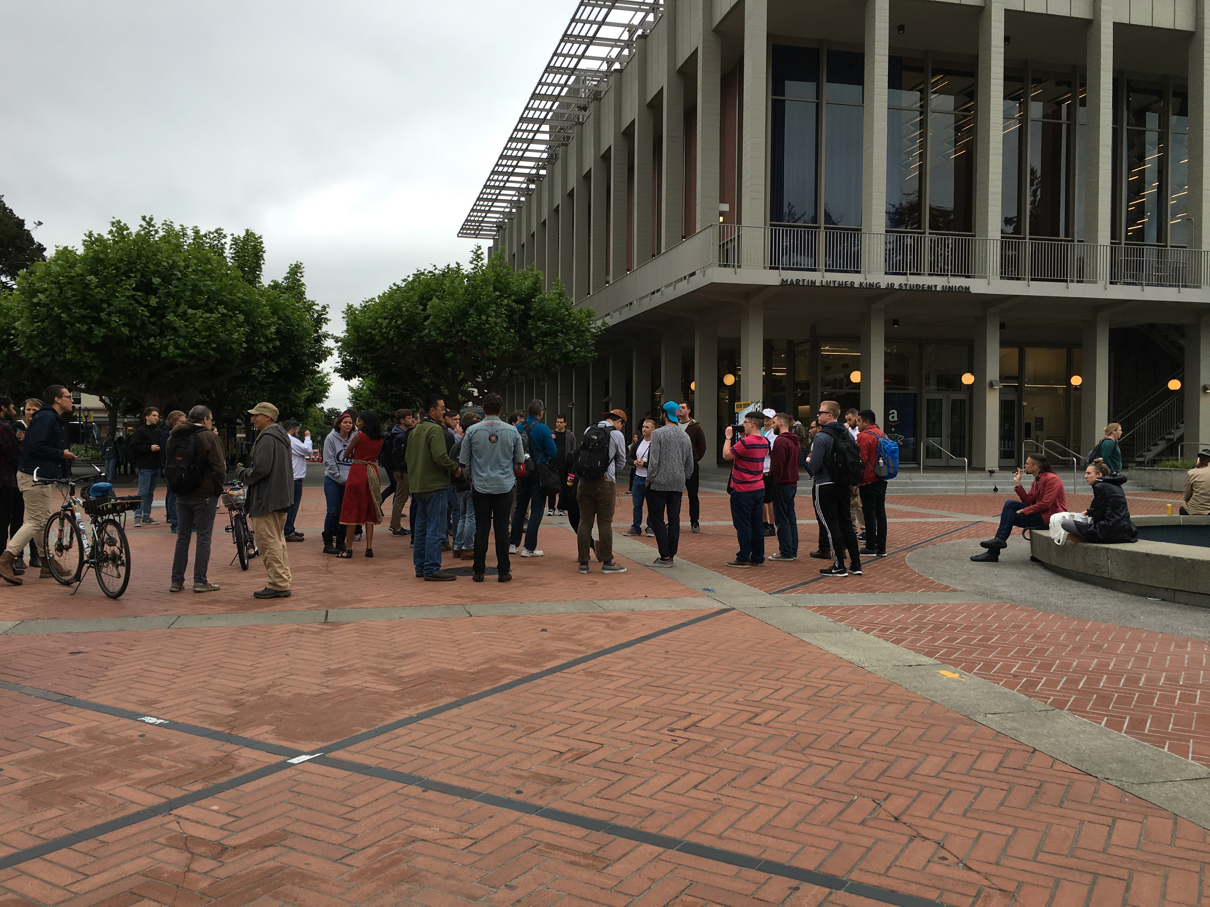 The gathering of supporters in on Sproul