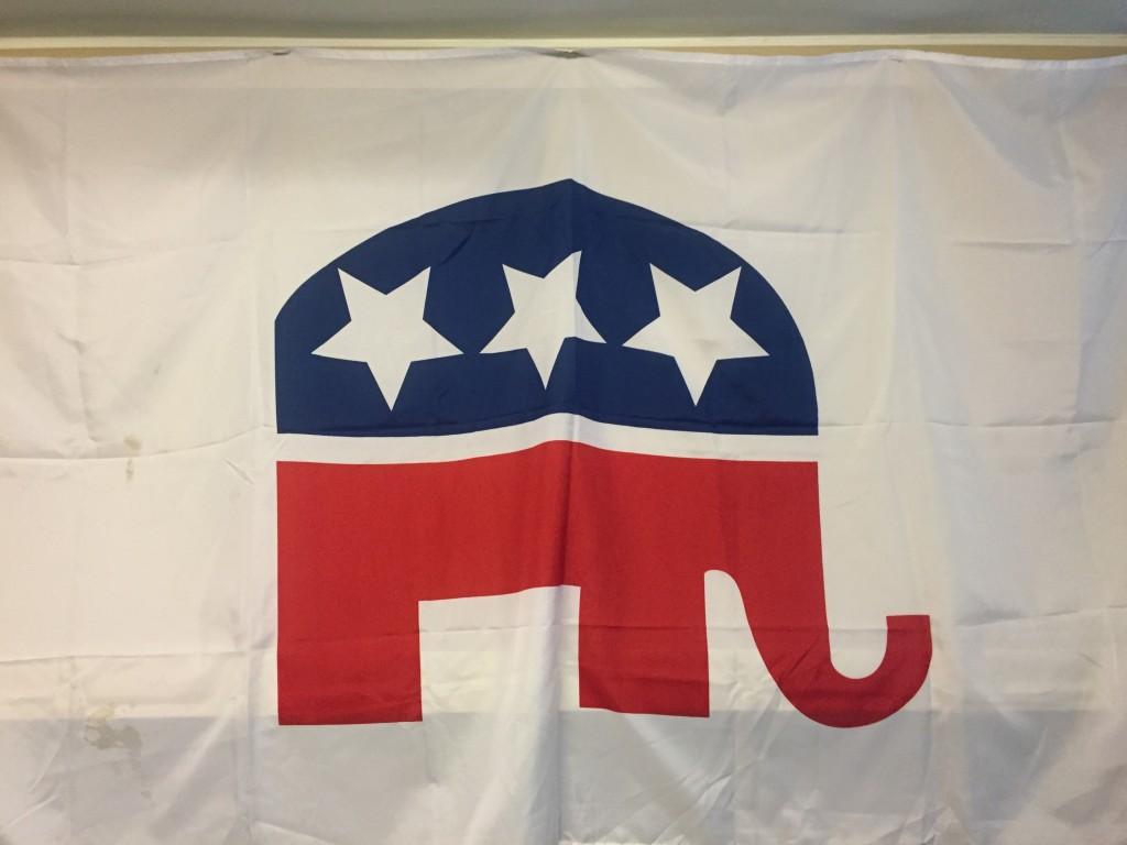 Jake's proudly displayed GOP Flag