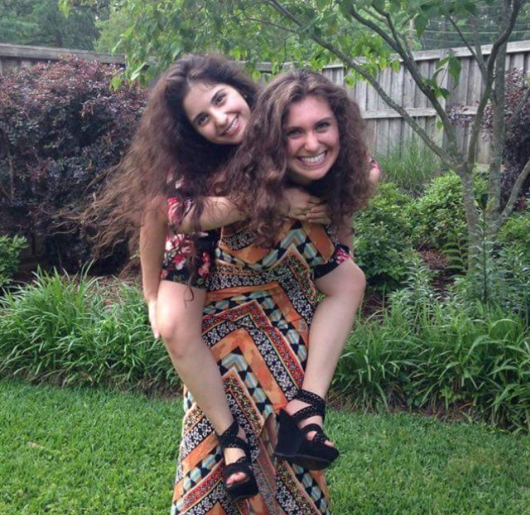 On Hannah's back although she always has mine at a graduation party in Longview, Texas in 2015