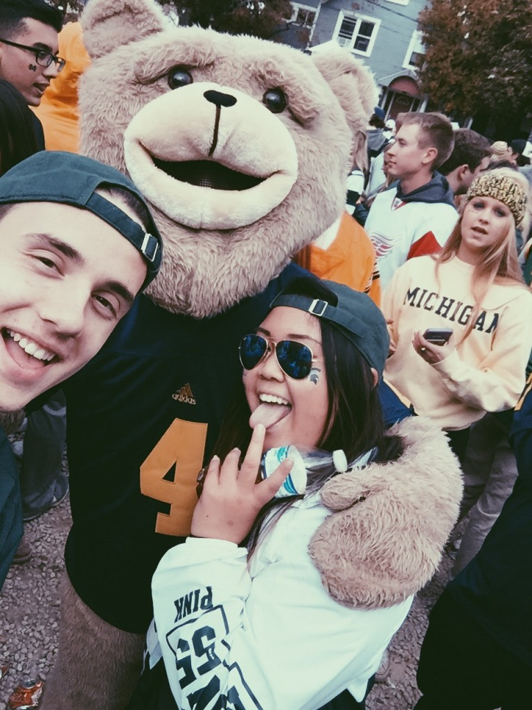 Why would you not selfie it up with someone dressed as a teddy bear? Even if they are our rivals