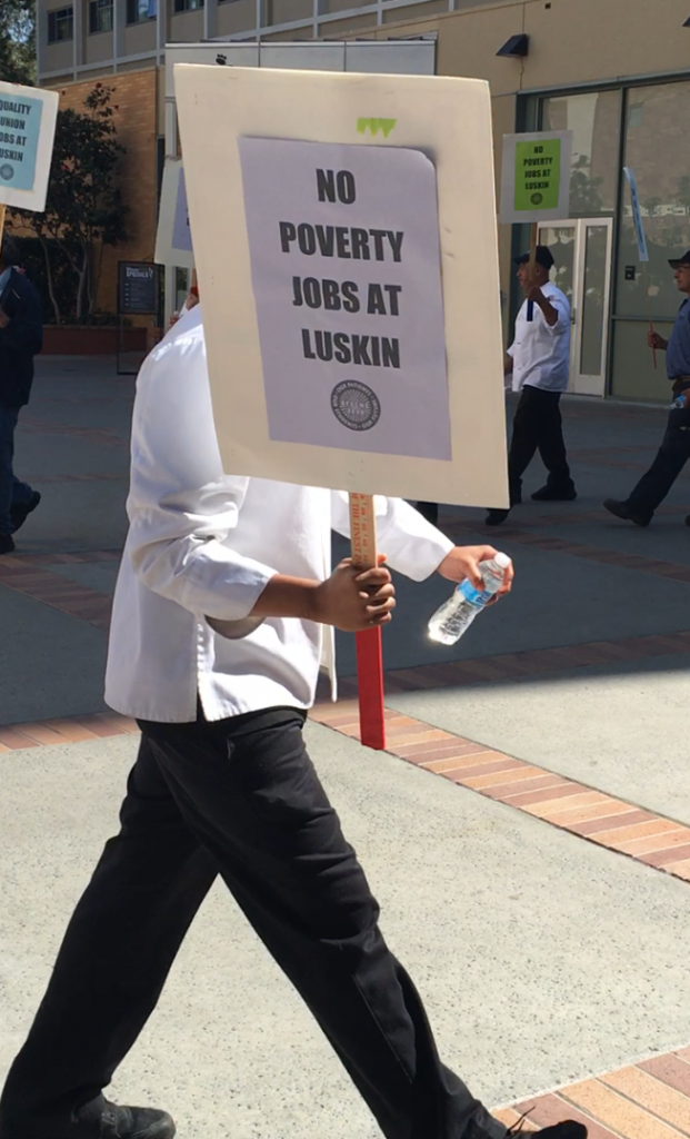 UCLA employees protest for union jobs at Luskin Center