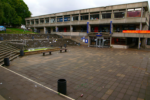 At Night Time UEA's Square turns into a Packed Smoking area and if you play your cards right your ticket into the LCR