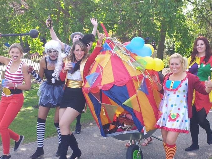 A colourful, circus-themed barrow