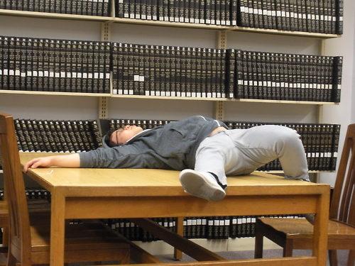 asleep library