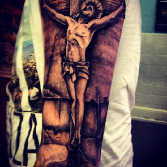 Chris Seaman's religious tattoo is sure to show his angelic nature, right?