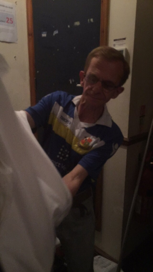 Putting his Tab t-shirt on with pride