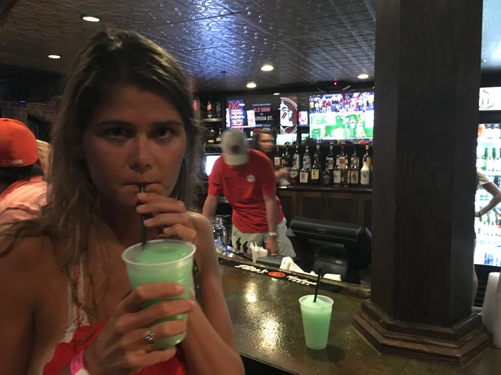 College girl drink in bar