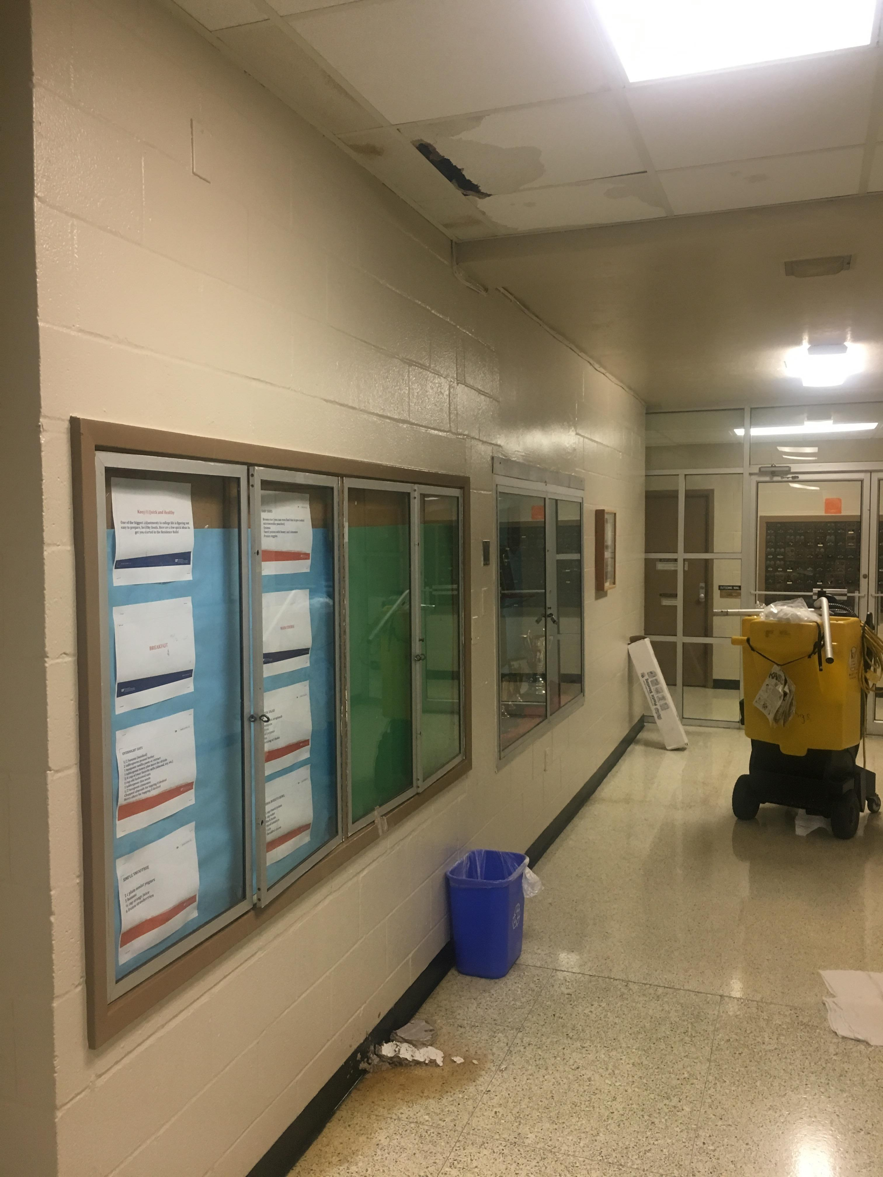 Leaking ceiling at Rawlings Hall.
