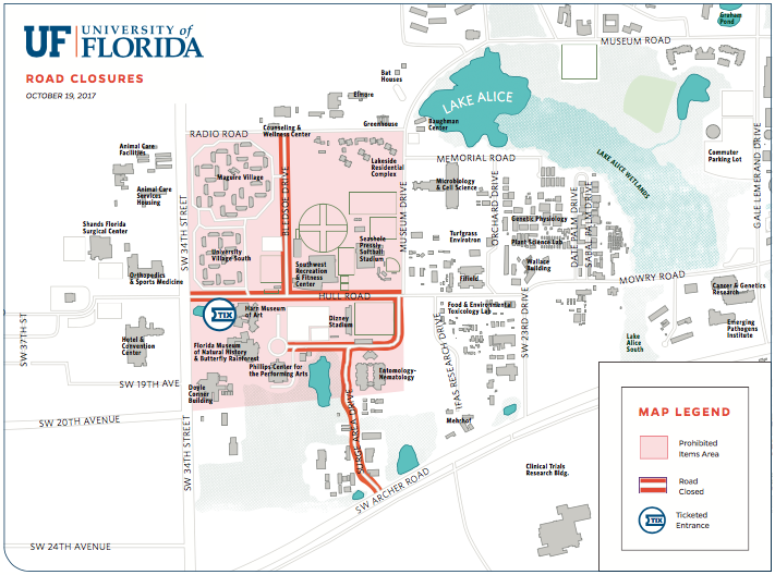 UF map of the road closures for the event.