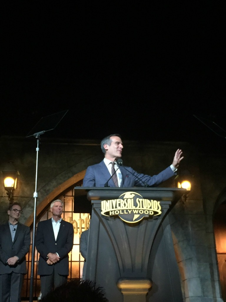 Mayor Eric Garcetti at the Wizarding World of Harry Potter on April 5 in Hollywood, CA