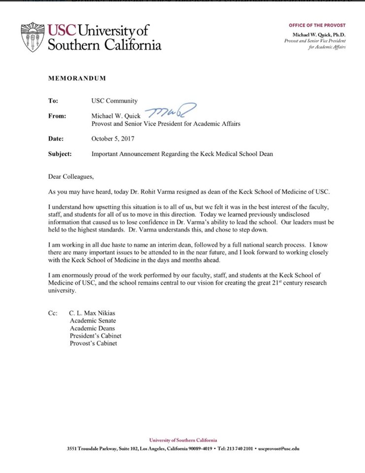Memo from Provost Quick regarding Varma's dismissal