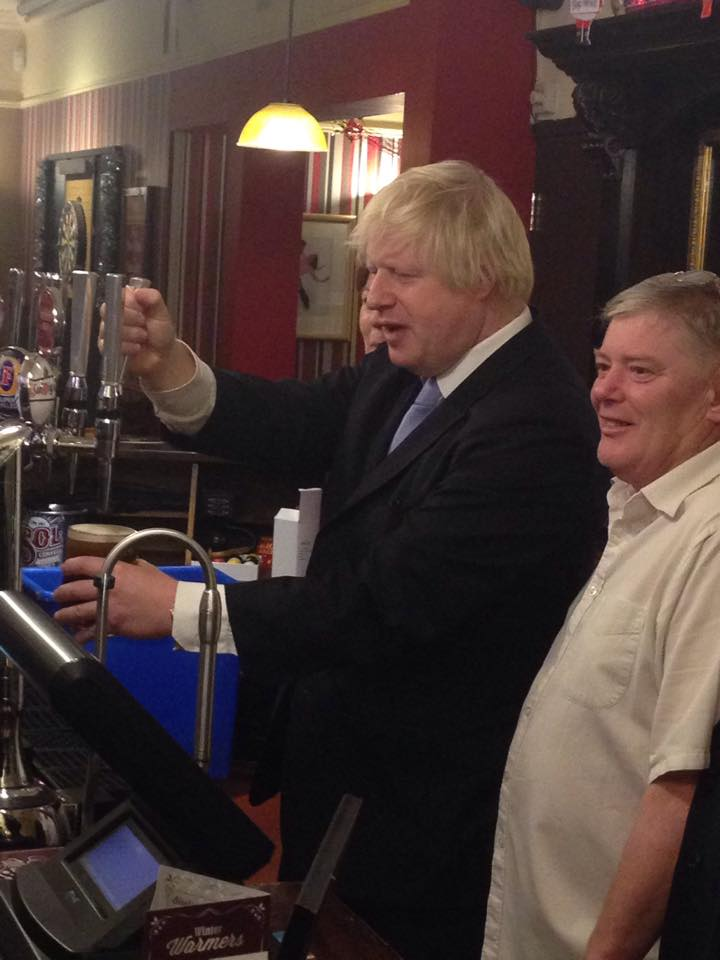 Boris pulling out his best farage impression in a pub in Notts