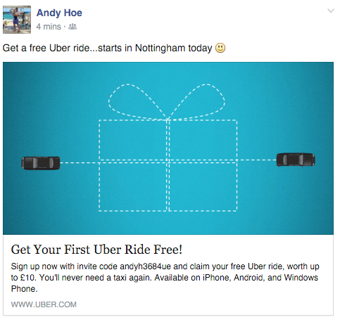 Andy Hoe is already offering free rides