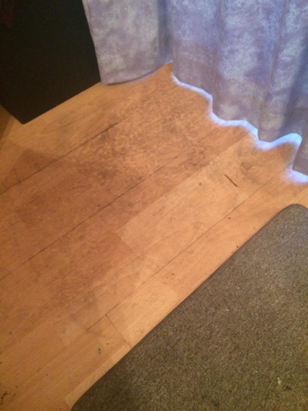 Footprints where the burglars entered