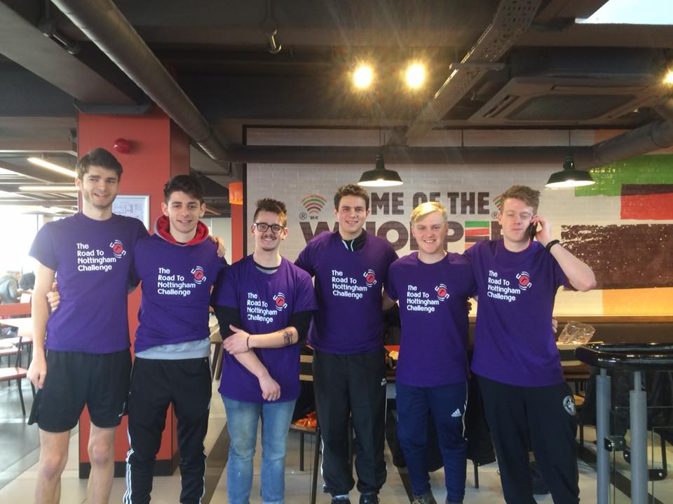 Six of the eight charitable nutters. From left to right, Jordan Perkins, James Rinsler, Sam Boevey, Ollie Samuels, Matt Manley and Nick Sutton Smith.
