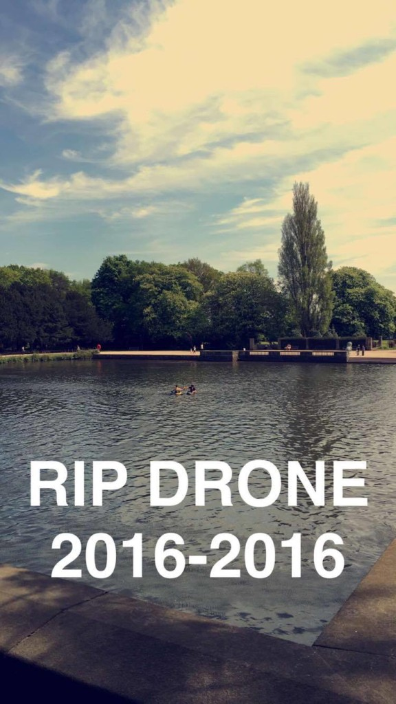 Canoeists attempt to find the drone