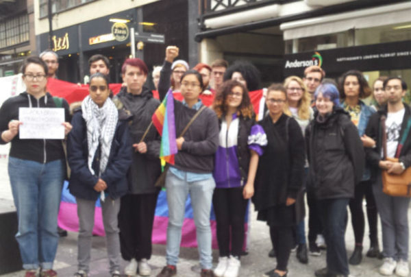 Maryam Din (second to the left) as well as other LGBT supporters
