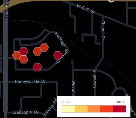 Map of density of rapes at FSU