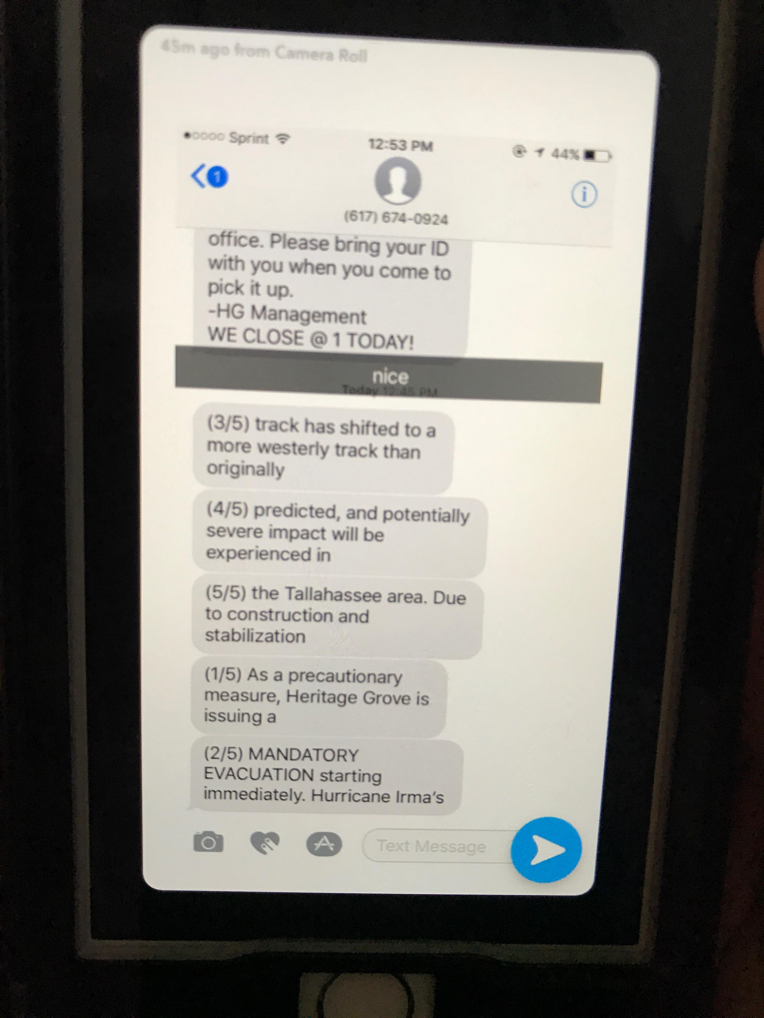 Some of the text messages residents were sent