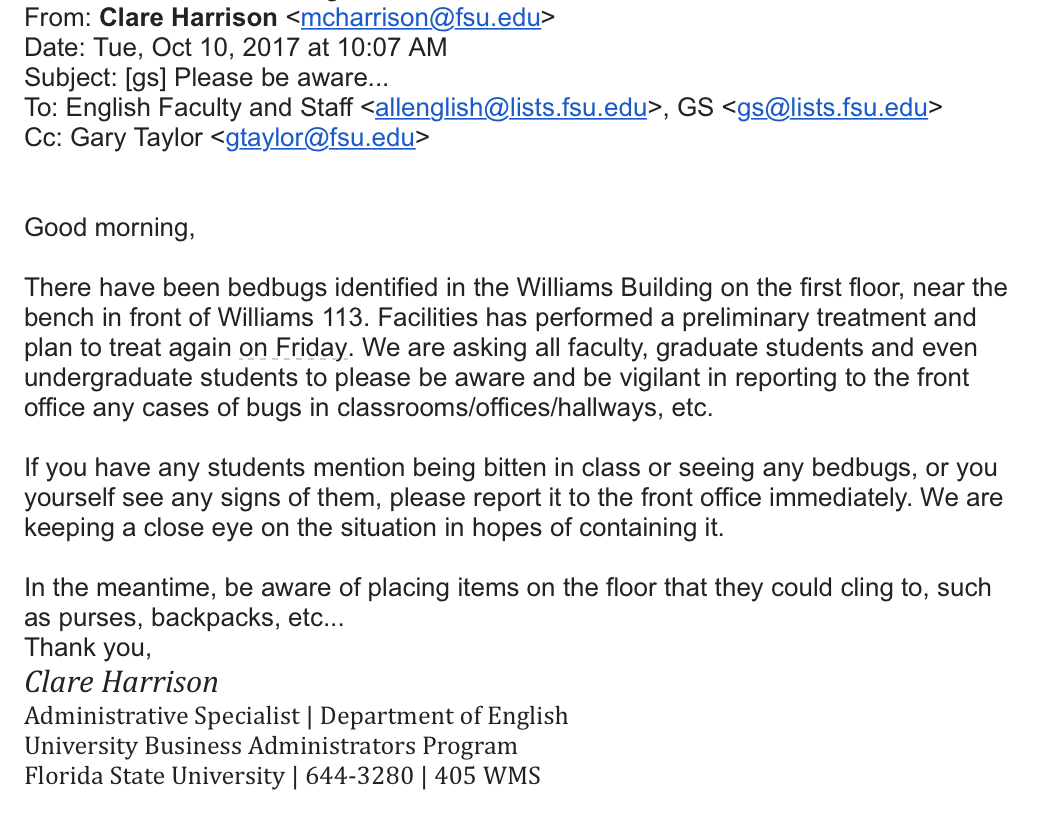 The e-mail received this morning