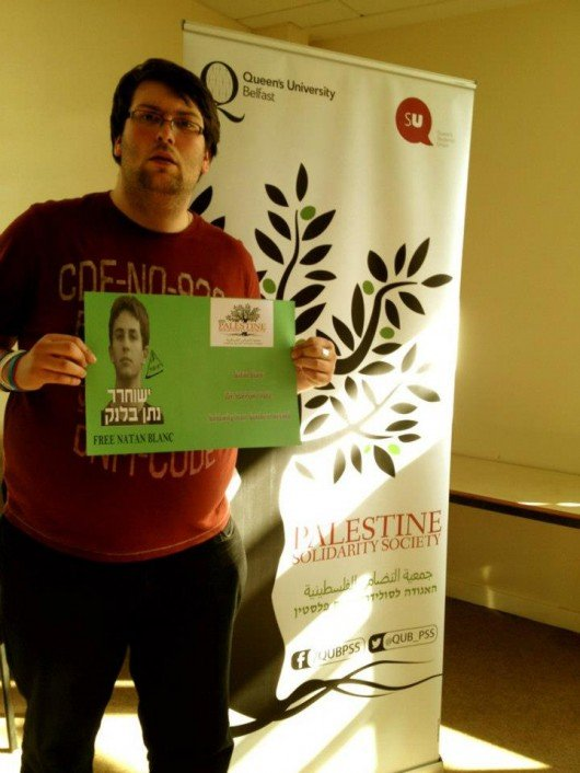 The student was a known Palestinian sympathiser after setting up the Palestinian Solidarity Society at Queen's University Belfast