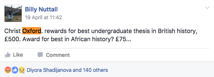 Oxford Uni Offers  British History Essay Prize But Only   However Other People Saw This As A Sign Of Oxfords Wider Race Problem  With People Countering That As A Global University It Should Act Like One