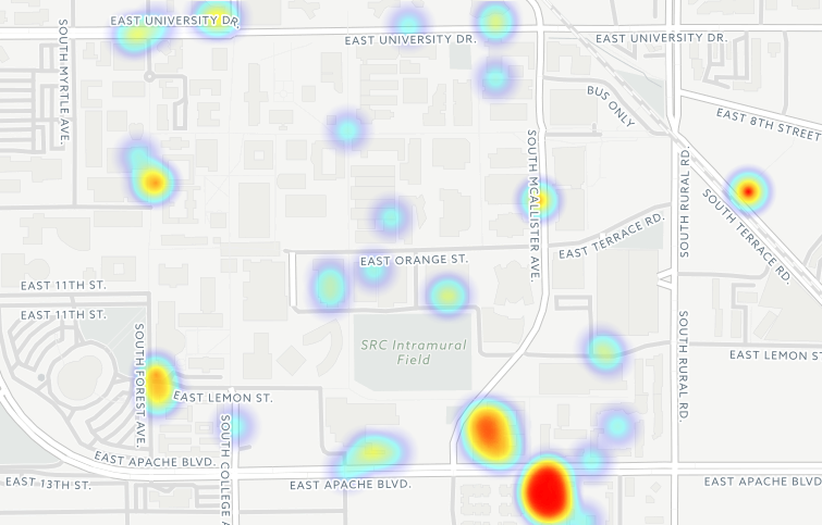 A heat map showing reports of sexual assault focusing on ASU dorms