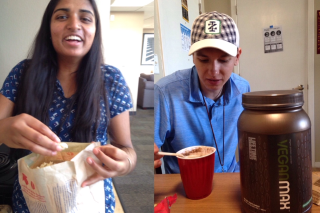 Students Asha Karthik and Ian baker enjoy their after-school snacks.