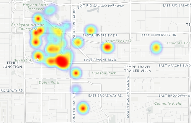 The full heat map of all reports at ASU
