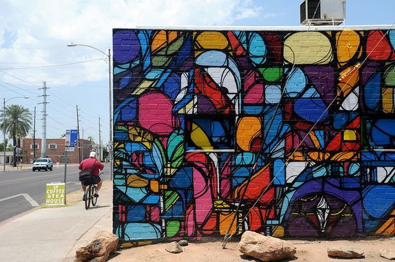 Image may contain: Wall, Mural, Graffiti, Stained Glass, Art