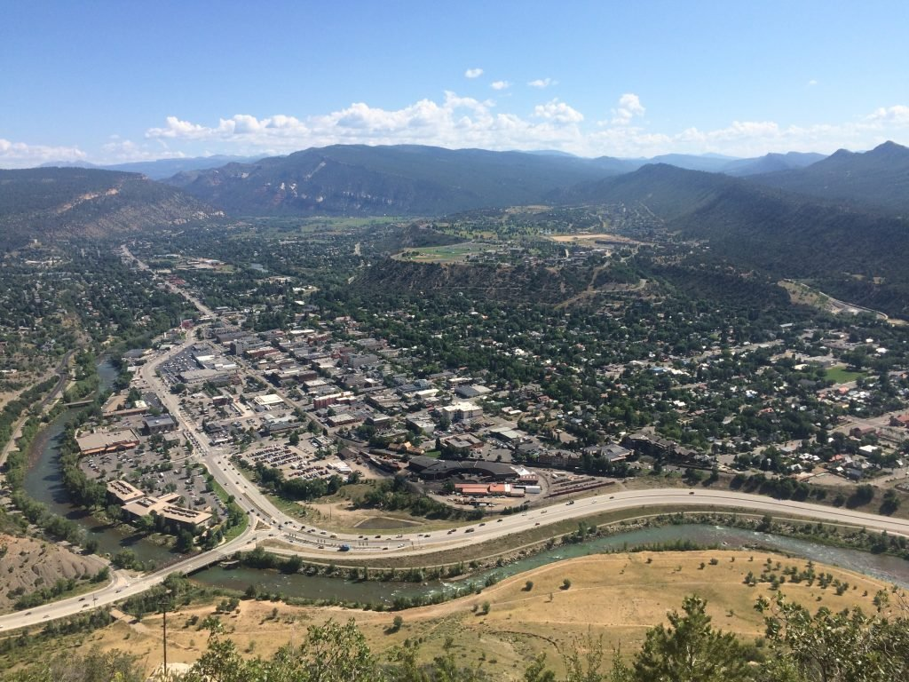 Looking down from Smelter Mountain on downtown Durango and the Animas River. August 2015.