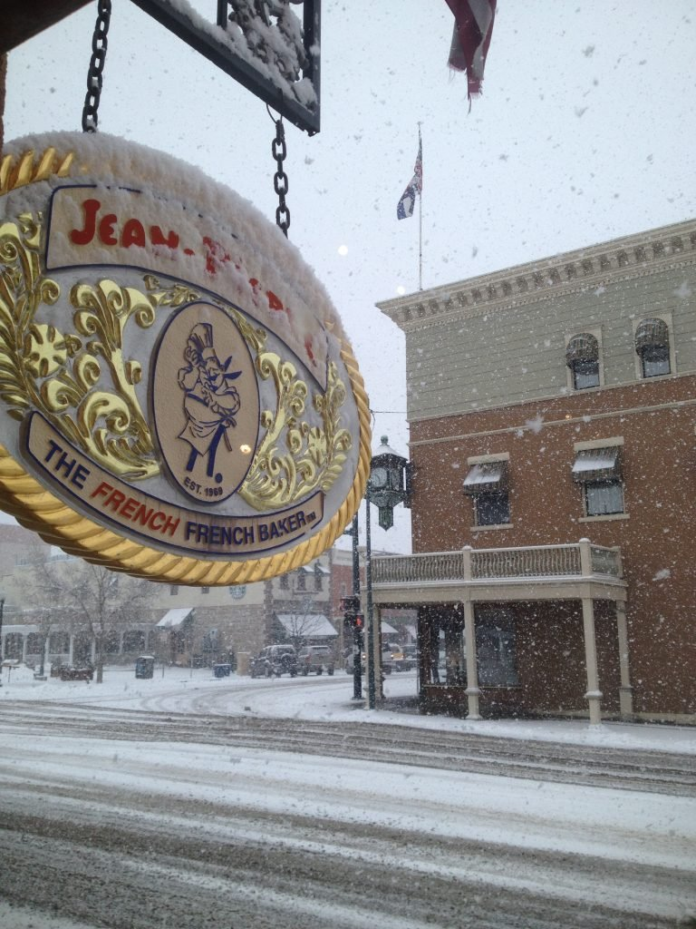 Winter invades downtown, including a local French bakery. February 2013.