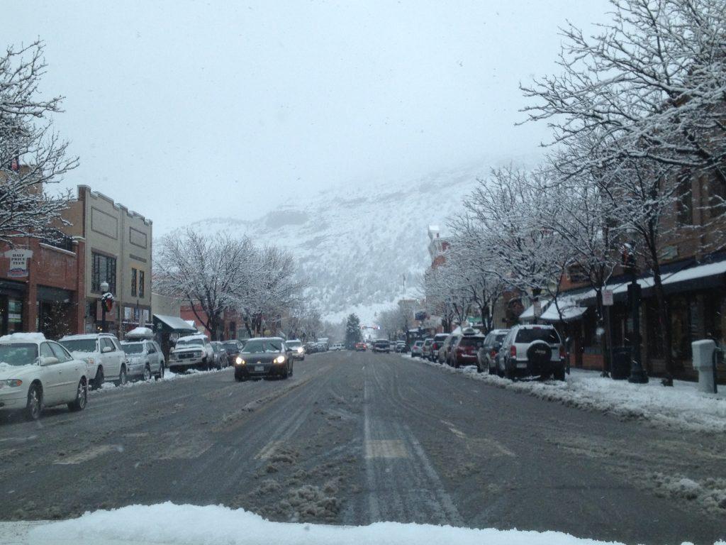 Winter snowfall on Main Street. December 2012.
