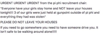 Other CU sororities urged their members to stay indoors & not walk The Hill alone