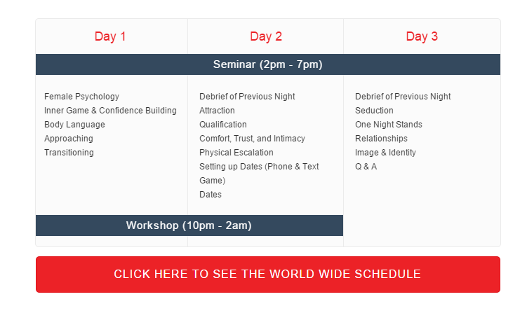 Schedule of a standard Love Systems bootcamp