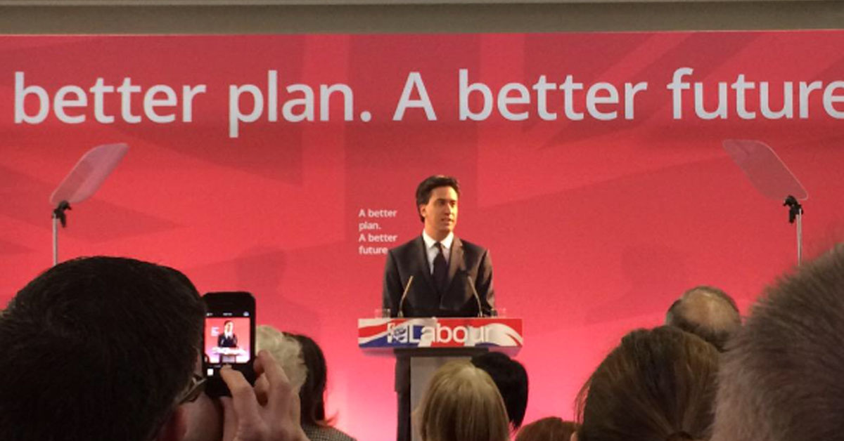 Miliband on campus earlier this year.