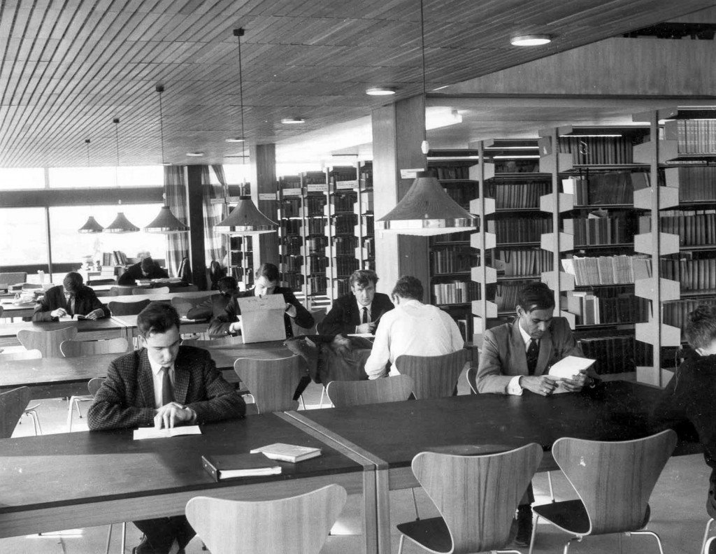 Studying in the library in 1965.