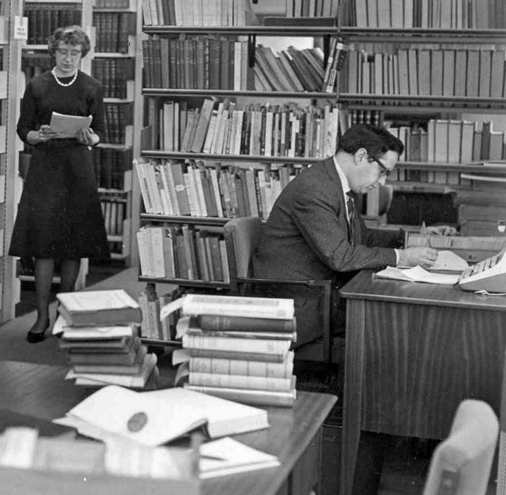 Studying in the library in 1965