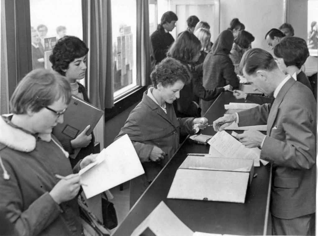 The first Warwick University students enrolling in 1965