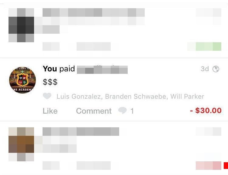 The venmo charge in question