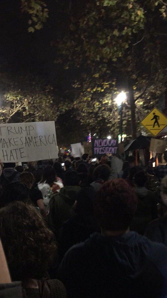 Protesters in downtown Santa Cruz.