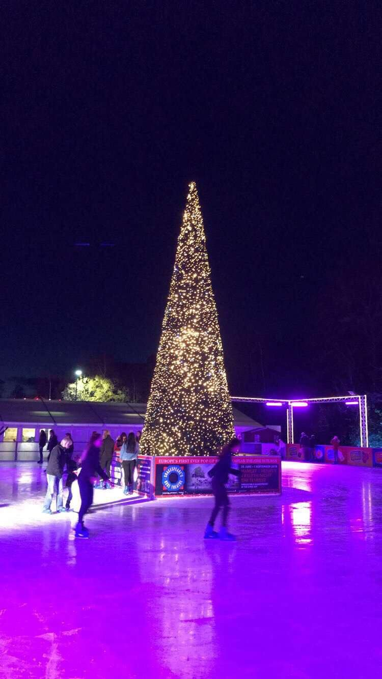 Image may contain: Lighting, Christmas Tree, Ornament, Rink, Ice Skating, Skating, Sports, Sport, Tree, Plant, Human, Person