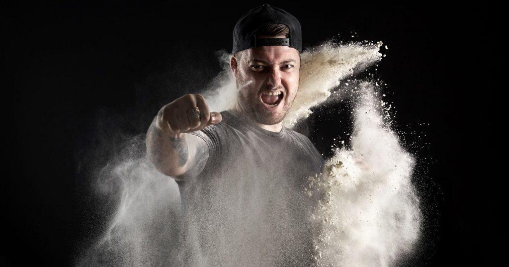 Image may contain: Human, Person, Flour, Food, Powder