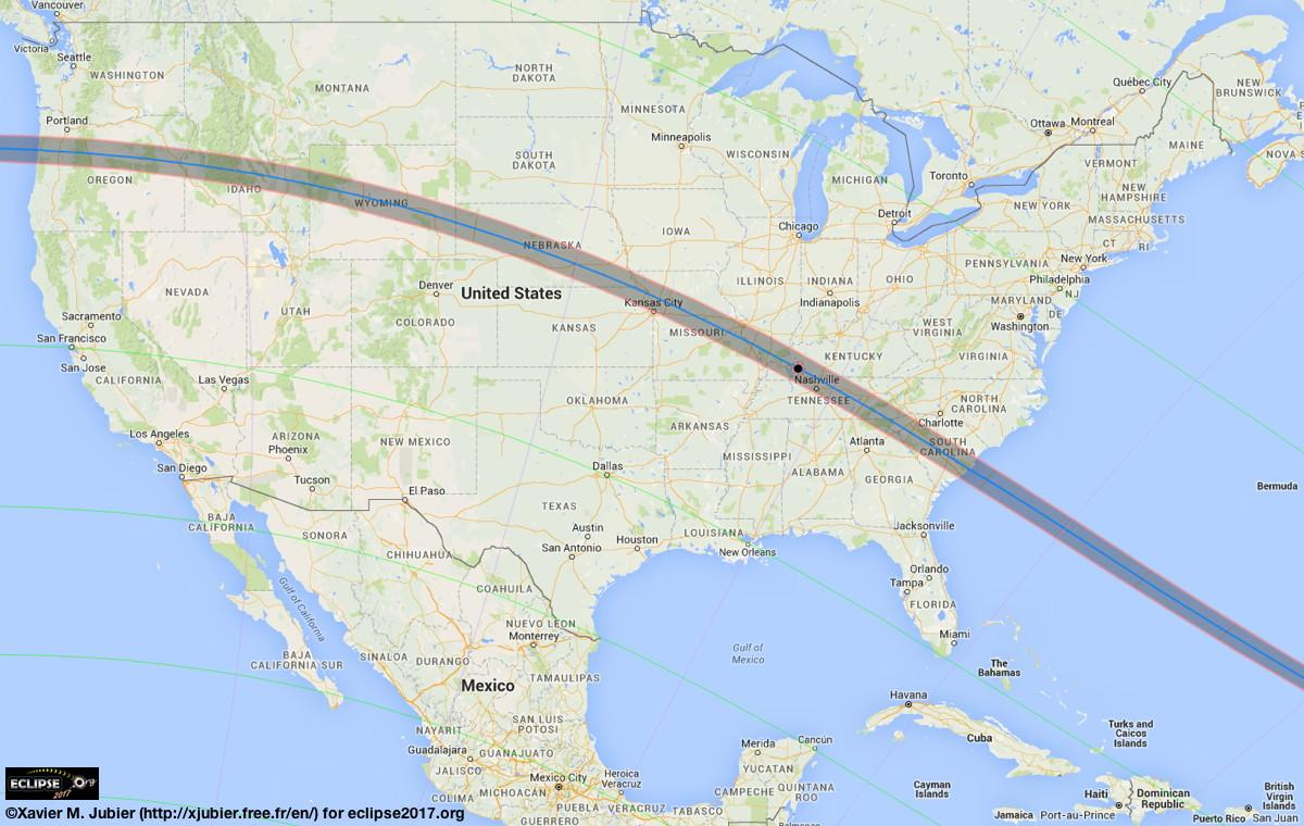 The blue line represents the path of totality. The shaded area around it represents partial obscuration.