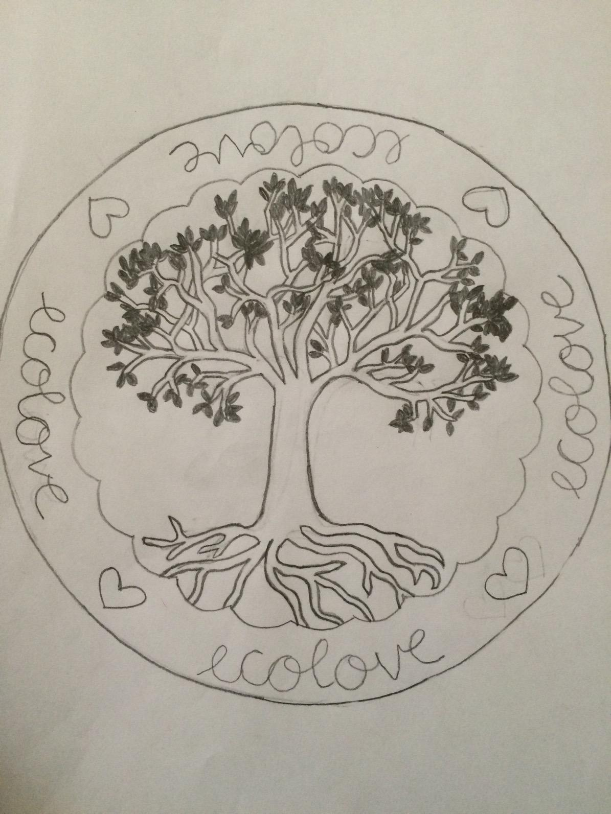 The original drawing for the 'tree stamp tee'