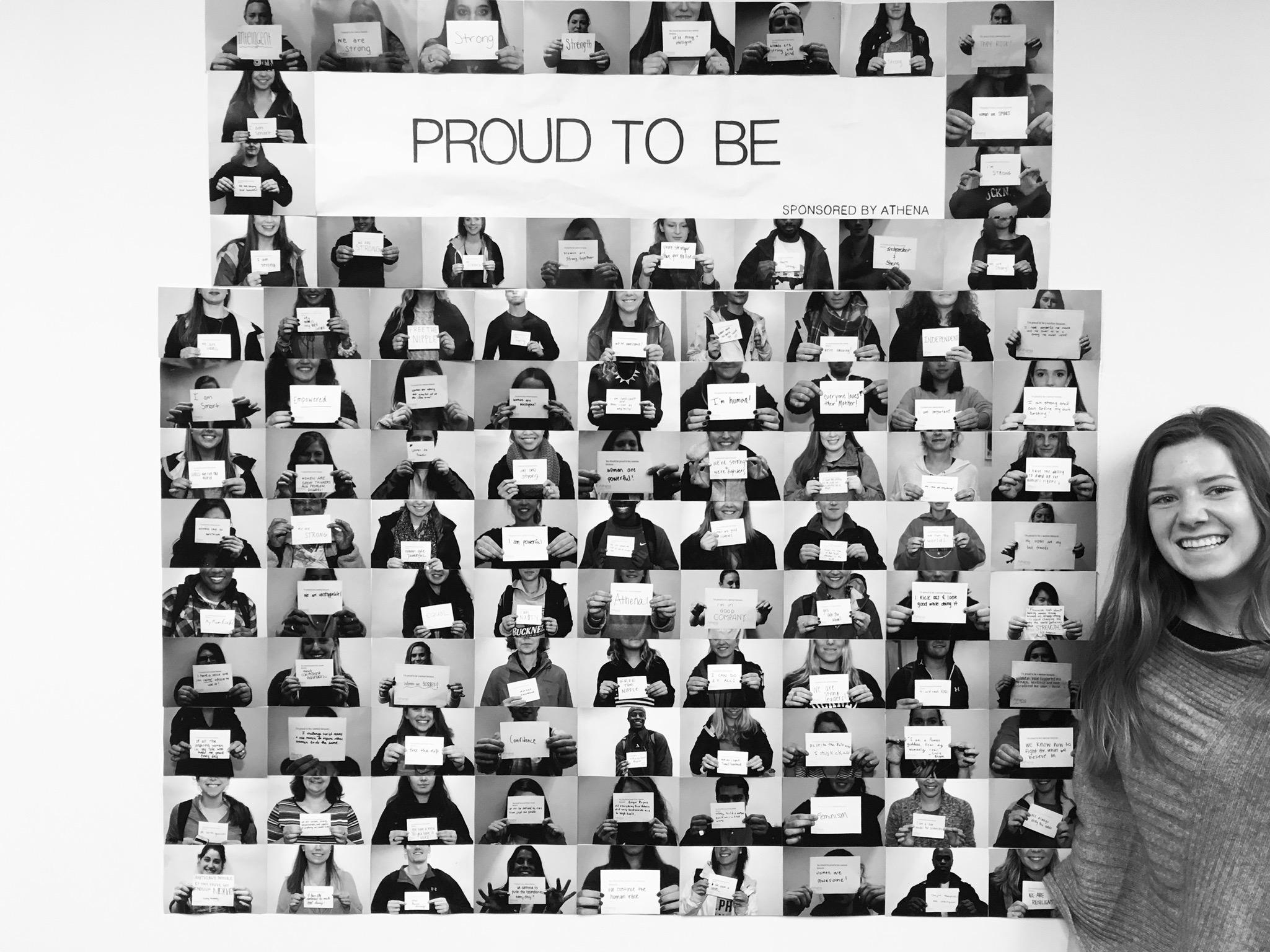 Caldwell Harden in front of the 'Proud to Be' campaign