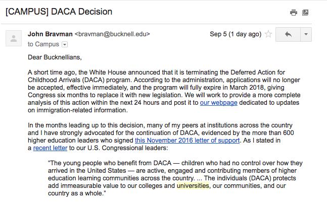 President Bravman's email